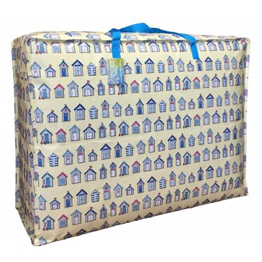 EXTRA Large 115 litre Storage bag. Cream Beach huts pattern.