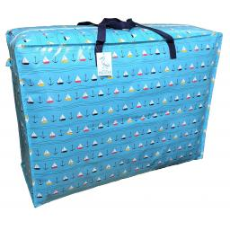EXTRA Large 115 litre Storage bag. Blue with sailing boats pattern.