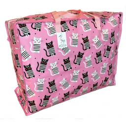 Large 65 litre Storage bag. Pink with black & white cats pattern.