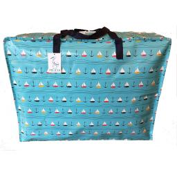 Large 65 litre Storage bag. Blue with sailing boats pattern.