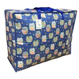 Large 65 litre Storage bag. Blue sleepy owls pattern.
