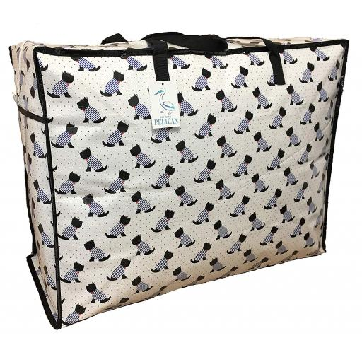 Large 65 litre Storage bag. White with Scotty dogs pattern.