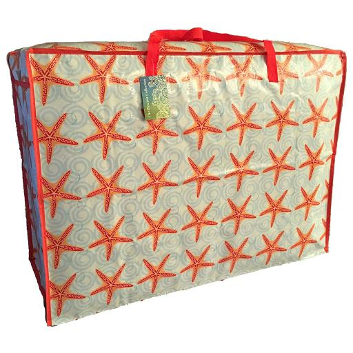 EXTRA Large 115 litre Storage bag. Red starfish pattern.