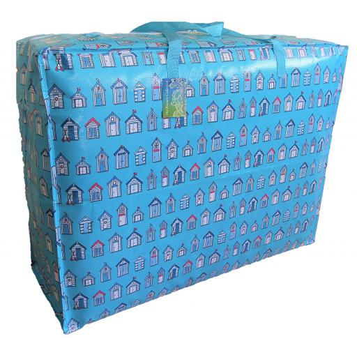 EXTRA Large 115 litre Storage bag. Blue Beach huts pattern.