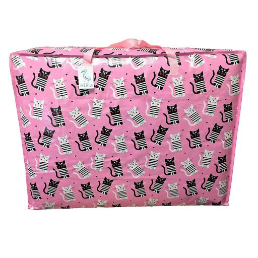 EXTRA Large 115 litre Storage bag. Pink with black and white cats pattern.