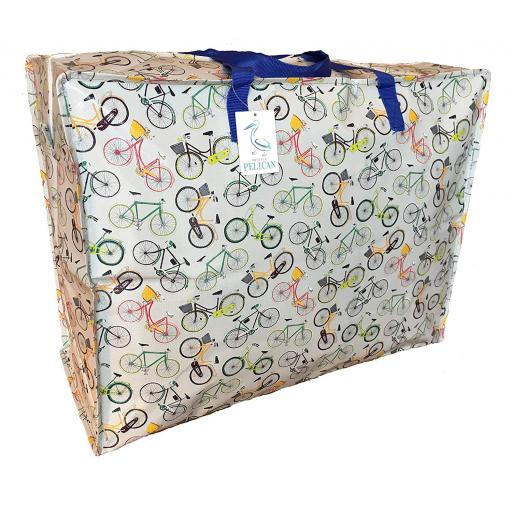 Large 65 litre Storage bag. Grey bicycles pattern.