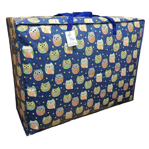 EXTRA Large 115 litre Storage bag. Blue with sleepy owls pattern.