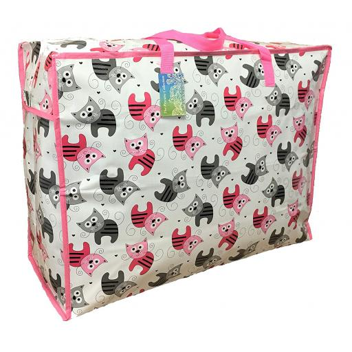 Large 65 litre Storage bag. White , pink and grey kittens pattern.