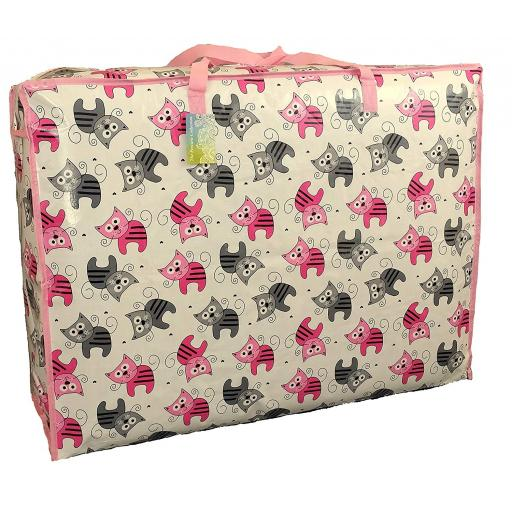 EXTRA Large 115 litre Storage bag. White pink and grey kittens pattern.